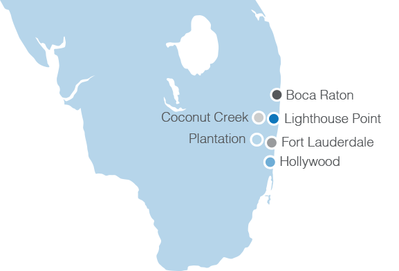 Locations of The Hearing Center of broward and palm beach